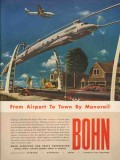 bohn aluminum brass corp 1947 airport to town by monorail vintage ad