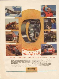bower roller bearing company 1947 on off road rolling load vintage ad