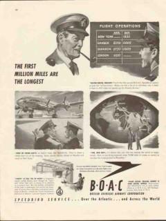 british overseas airways corp 1947 boac first million miles vintage ad