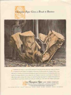 champion paper fibre company 1947 gives a break to business vintage ad