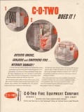 c-o-two fire equipment co 1947 detects smoke isolates fire vintage ad