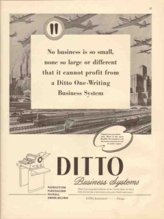 ditto inc 1947 small large one-writing business system vintage ad