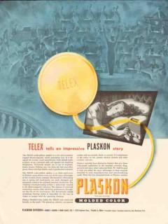 libbey owens ford glass co 1947 telex speaker plaskon vintage ad