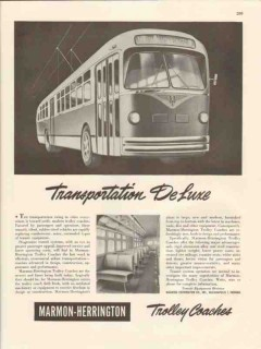 marmon-herrington 1947 transportation deluxe trolley coach vintage ad