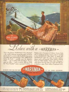 marxman 1947 relax four hundred jumbo fine smoking pipe vintage ad