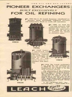 C H Leach Company 1934 Vintage Ad Oil Refining Pioneer Exchangers