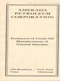 Amerada Petroleum Corp 1934 Vintage Ad Producers Crude Oil Gasoline