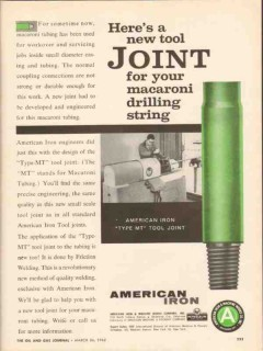 American Iron Machine Works 1962 Vintage Ad Oil Tool Joint Drilling