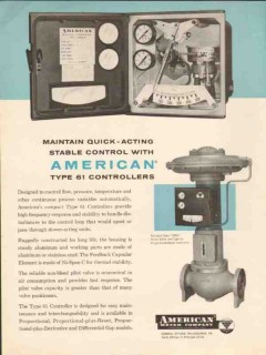 American Meter Company 1962 Vintage Ad Quick Acting Stable Controllers