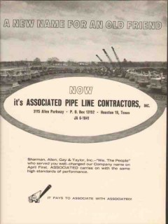 Associated Pipe Line Contractors 1962 Vintage Ad New Name Old Friend