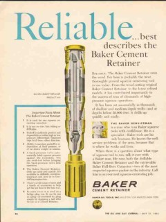 Baker Oil Tools Inc 1962 Vintage Ad Reliable Describes Cement Retainer