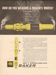 Baker Oil Tools Inc 1962 Vintage Ad Well Drilling Casing Packer Worth