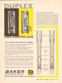 Baker Oil Tools Inc 1962 Vintage Ad Duplex Liner Cementing Shoe Collar