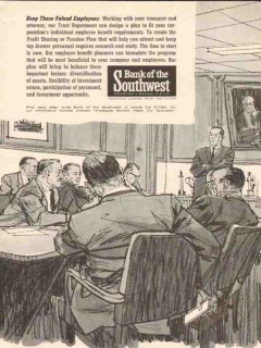 bank of the southwest 1962 keep those valued employees vintage ad