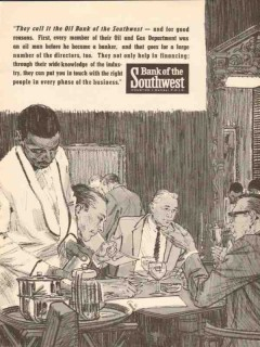 bank of the southwest 1962 they call it oil bank financing vintage ad