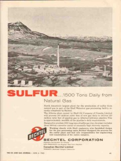 Bechtel Corp 1962 Vintage Ad Sulfur 1500 Tons Daily Natural Gas