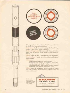 Brown Oil Tools Inc 1962 Vintage Ad Positive Setting Cam-Lok Packers