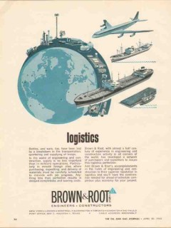 Brown Root Inc 1962 Vintage Ad Oil Logistics Engineers Constructors