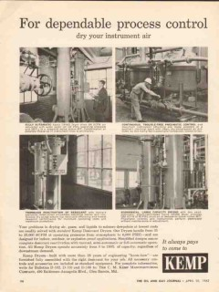C M Kemp Mfg Company 1962 Vintage Ad Oil Dependable Process Control