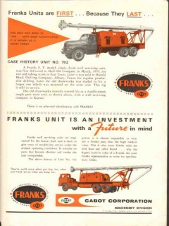 Cabot Corp 1962 Vintage Ad Franks Well Service Harold Black Drilling