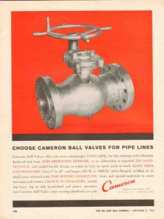 Cameron Iron Works 1962 Vintage Ad Oil Field Ball Valves Pipe Lines