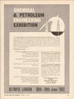 Chemical Petroleum Engineering Exhibit 1962 Vintage Ad Olympia London