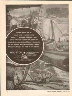 Houston Contracting Company 1962 Vintage Ad Pipe Efficient Operation