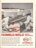 Humble Oil Refining Company 1962 Vintage Ad Epoxy Adhesives Weld Tanks