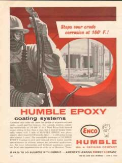 Humble Oil Refining Company 1962 Vintage Ad Epoxy Coating Sour Crude