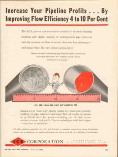 ICS Corp 1962 Vintage Ad Oil Pipeline Coating Improving Flow Profits