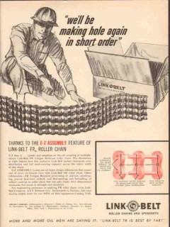 Link-Belt Company 1962 Vintage Ad Oil Well Drilling Chain Making Hole