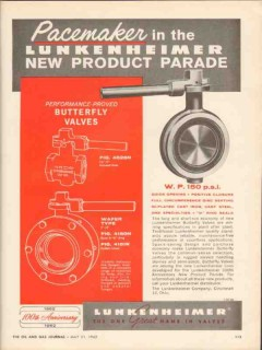 Lunkenheimer Company 1962 Vintage Ad Oil Butterfly Valve Pacemaker