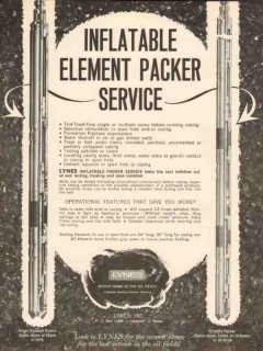 Lynes Inc 1962 Vintage Ad Oil Well Inflatable Element Packer Service