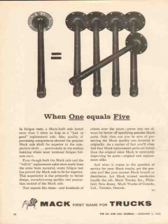 mack trucks 1962 when one equals five replacement axles vintage ad