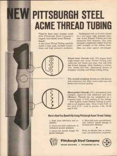 Pittsburgh Steel Company 1962 Vintage Ad Oil Acme Thread Tubing Pipe