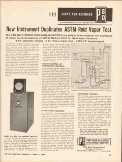 Precision Scientific Development Company 1962 Vintage Ad Oil Vapor