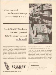Rollway Bearing Company 1962 Vintage Ad Oil Replace Cylindrical Roller