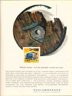 Schlumberger 1962 Vintage Ad Oil Field Wheels Change Principle Remains