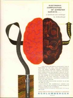 Schlumberger 1962 Vintage Ad Oil Field Electronic Computation Surveys