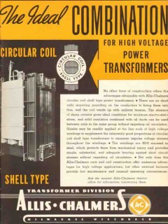 allis-chalmers 1936 ideal combination power transformers vintage ad
