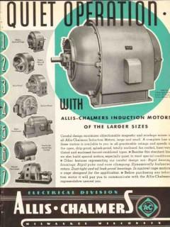 allis-chalmers 1936 larger quiet induction electric motors vintage ad
