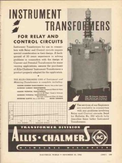 allis-chalmers 1936 instrument transformers relay control vintage ad