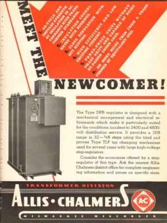allis-chalmers 1936 newcomer type dfr regulator transformer vintage ad