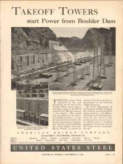 american bridge company 1936 takeoff towers boulder dam vintage ad