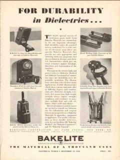 bakelite corp 1936 durability dielectrics electrical vintage ad