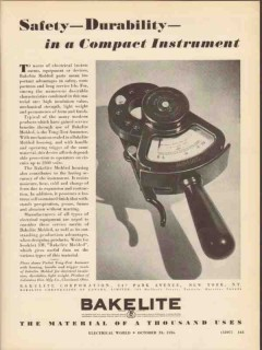 bakelite corp 1936 safety durability electrical instrument vintage ad