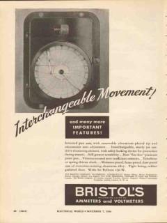 bristol company 1936 interchangeable movement meters volt vintage ad