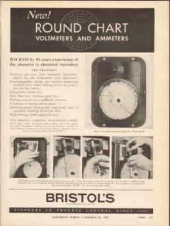 bristol company 1936 round chart voltmeter ammeter electric vintage ad