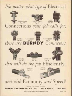 burndy engineering company 1936 electrical connectors wires vintage ad