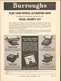 burroughs adding machine co 1936 plan payroll accounting vintage ad